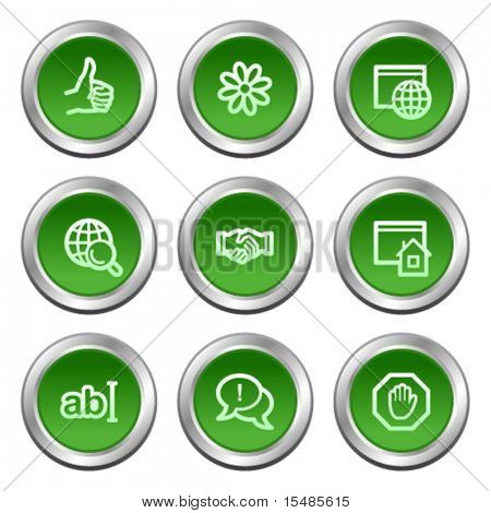 Internet communication web icons, green circle buttons series