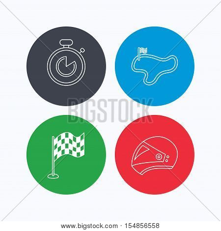 Race flag, timer and motorcycle helmet icons. Race lap linear sign. Linear icons on colored buttons. Flat web symbols. Vector
