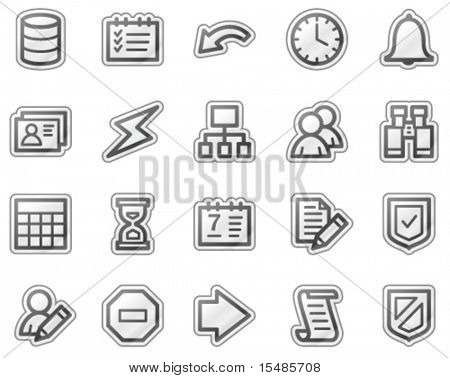 Database web icons, grey sticker series
