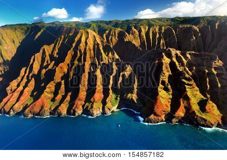 Aerial View Of Spectacular Na Pali Coast, Kauai
