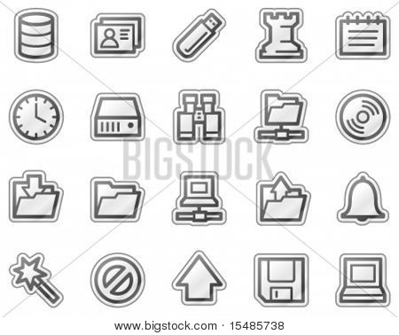 Server web icons, grey sticker series