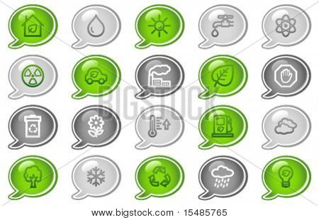 Ecology web icons, green and grey speech bubble series