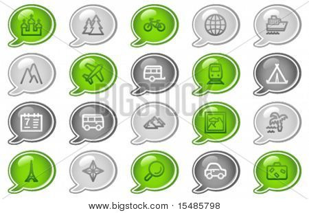 Travel web icons, green and grey speech bubble series