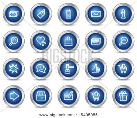 Shopping web icons, blue circle buttons series