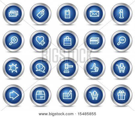 Los iconos de la web de compras, círculo azul serie de botones