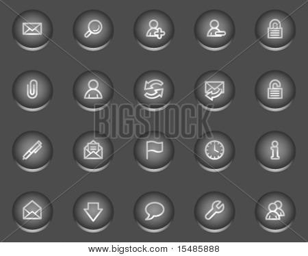 E-mail web icons, metal circle buttons series