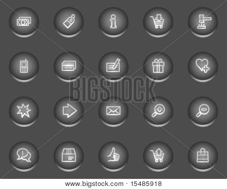 Shopping web icons, metal circle buttons series