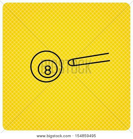 Billiard ball icon. Pool or snooker equipment sign. Cue sports symbol. Linear icon on orange background. Vector