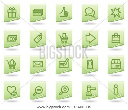 Shopping web icons, green document series
