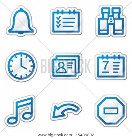 Organizer web icons, blue contour sticker series
