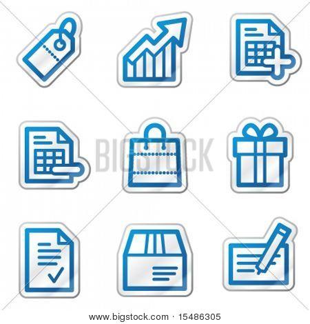 Shopping web icons, blue contour sticker series