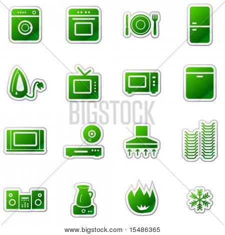Home appliances web icons, green sticker series