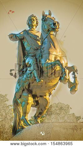 Bronze Horseman, equestrian statue of Peter the Great, Saint Petersburg, Russia. Vintage painting, background illustration, beautiful picture, travel texture