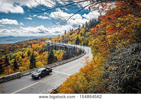 Linn Cove Viaduct carries the Blue Ridge Parkway around the slopes of Grandfather Mountain in North Carolina