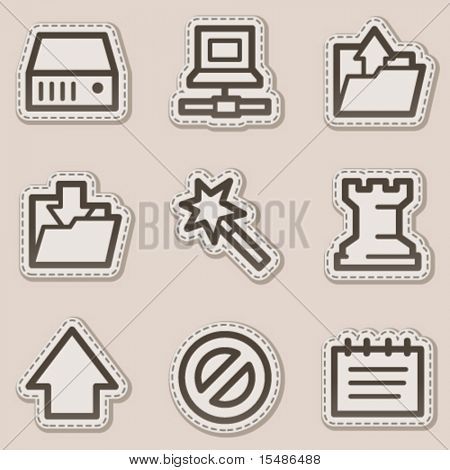 Data web icons, brown contour sticker series