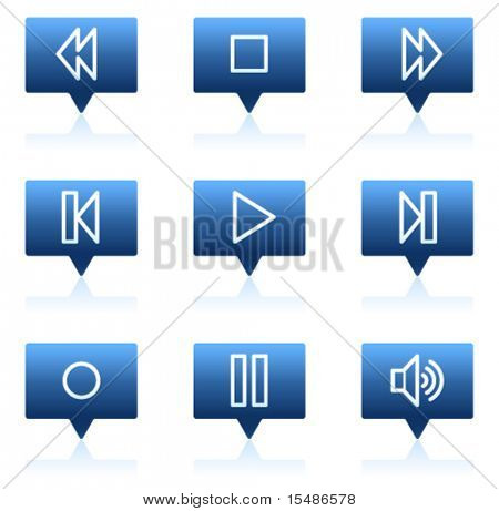 Walkman web icons, blue speech bubbles sticker series