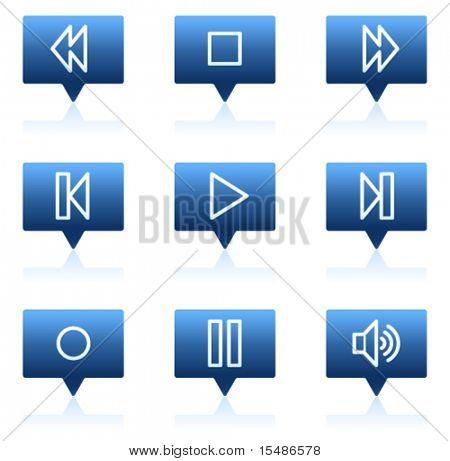 Walkman web icons, blue speech bubbles sticker series
