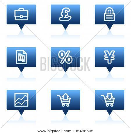 E-business web icons, blue speech bubbles sticker series