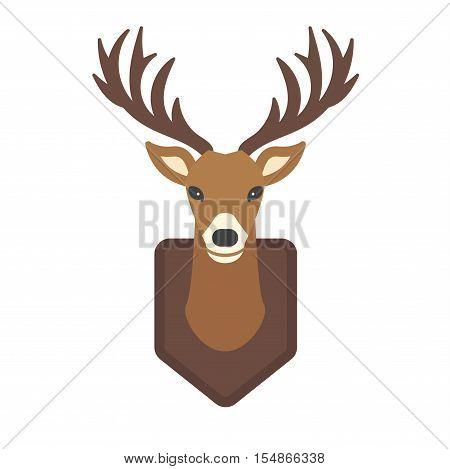 Cute deer cartoon head wild vector character. Vector wild mammal cartoon deer head.