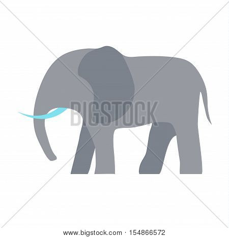 African elephant isolated on white. Elephant baby animal african zoo vector illustration. Nature mammal, trunk wildlife safari big african elephant. Large strong zoo animal character.