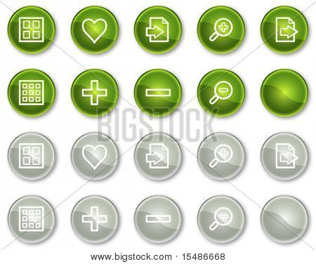 Image viewer web icons set 1, green and grey circle buttons series