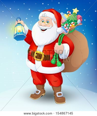 Christmas. Santa Claus with a flashlight and a bag of gifts. Vector illustration.