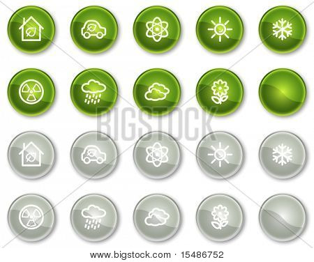 Ecology web icons set 2, green and grey circle buttons series