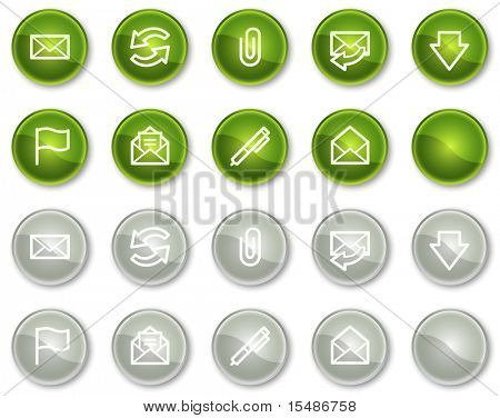 E-mail web icons, green and grey circle buttons series
