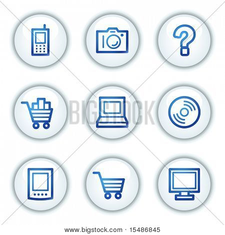 Electronics web icons set 1, white circle buttons series