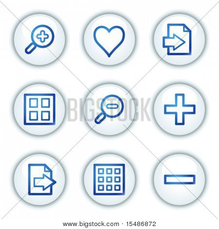 Image viever web icons set 1, white circle buttons series