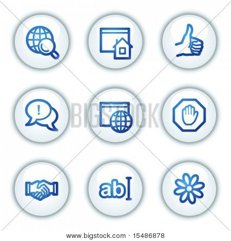 Internet communication web icons, white circle buttons series
