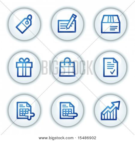 Shopping web icons, white circle buttons series