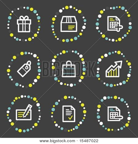 Shopping web icons, color dots series