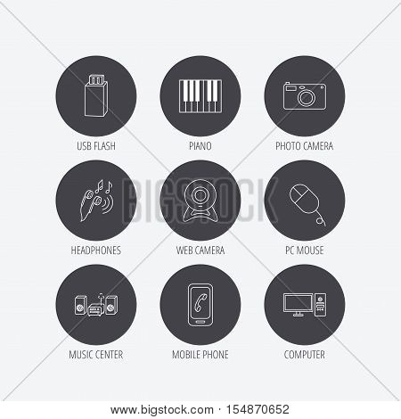 Smartphone, web camera and USB flash icons. Headphones, piano and photo camera linear signs. Computer, music center icons. Linear icons in circle buttons. Flat web symbols. Vector
