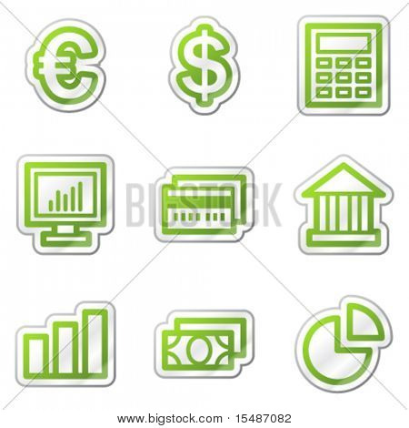 Finance web icons, green contour sticker series