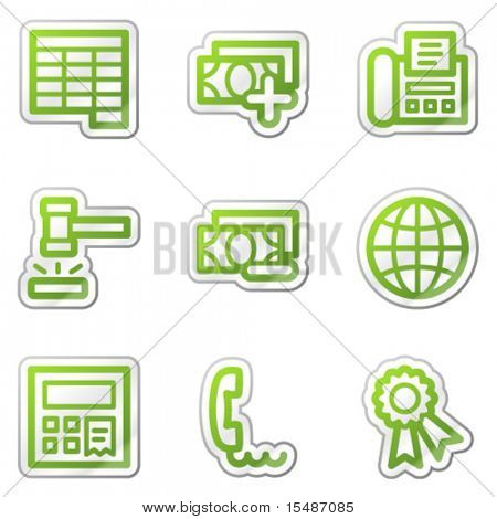 Finance web icons set 2, green contour sticker series