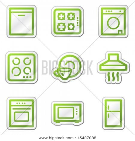 Home appliances web icons, green contour sticker series