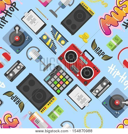Graffiti wall hip hop pattern underground music symbols vector. Urban art hip hop pattern vector background. Graphic illustration funky grunge hip hop pattern modern wall rap cool ink text.