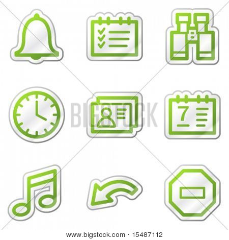 Organizer web icons, green contour sticker series