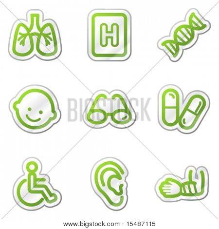 Medicine web icons set 2, green contour sticker series