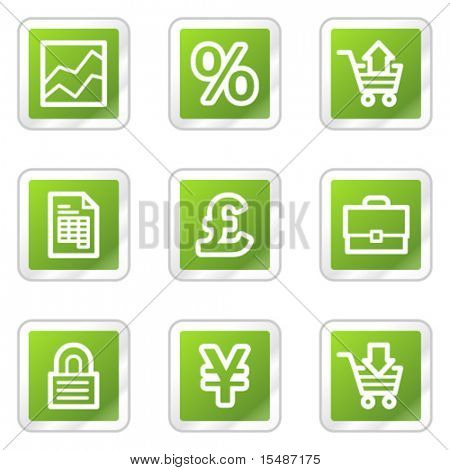 E-business web icons, green square sticker series