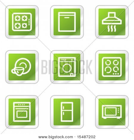 Home appliances web icons, green square sticker series