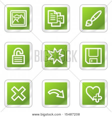Image viewer web icons set 2, green square sticker series