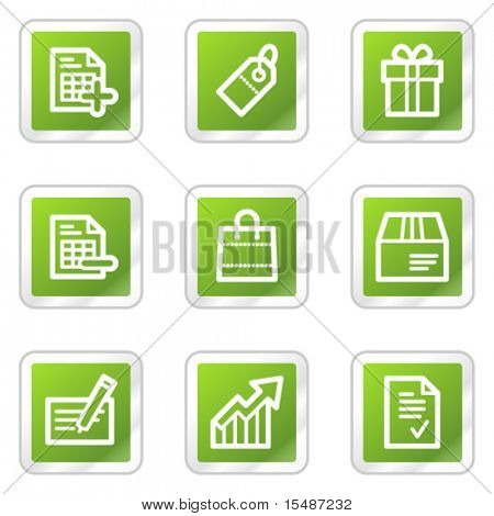 Shopping web icons, green square sticker series
