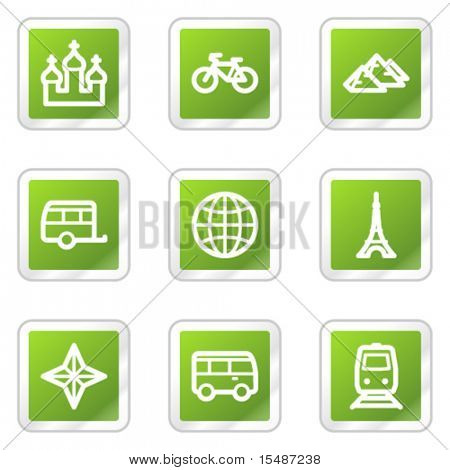 Travel web icons set 2, green square sticker series