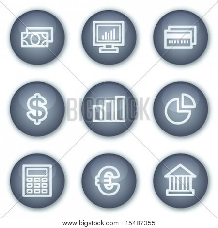 Finance web icons set 1, mineral circle buttons series