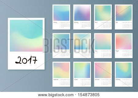 Design of Wall Monthly Calendar for 2017 Year. Print Template with holographic. Week Starts Sunday. Set of 12 Months. Vector.
