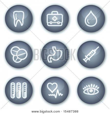 Medizin Web Icons set 1, mineralische Kreis Tasten Serie