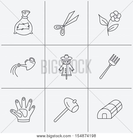 Hammer, hothouse and watering can icons. Bag of fertilizer, scissors and flower linear signs. Hammer, scarecrow and pitchfork flat line icons. Linear icons on white background. Vector