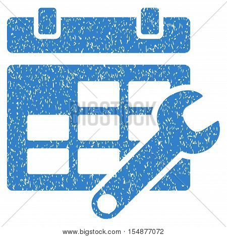 Timetable Options grainy textured icon for overlay watermark stamps. Flat symbol with scratched texture. Dotted vector cobalt ink rubber seal stamp with grunge design on a white background.